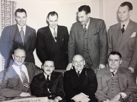 The board of directors from the Alberta Tuberculosis Association poses for a picture sometime between 1948 and 1949. They include (top row from left to right) Director G.S. Lakie, Director Wilfrid Crossling, General Secretary Robert Dickey, Treasurer D.E. Batchelor, (bottom row from left to right) Past President R.W. Roscoe, President E.H. Read, Secretary C.H. Crooks, Vice President George G. Eaton.
